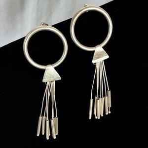 Mid Century Sterling Oversized  O Tassel Earrings